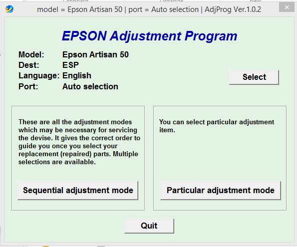 Epson Artisan 50 Adjustment