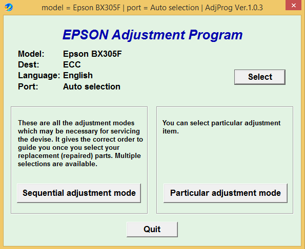 Epson BX-305FW Adjustment