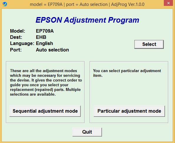 Epson EP-709A Adjustment