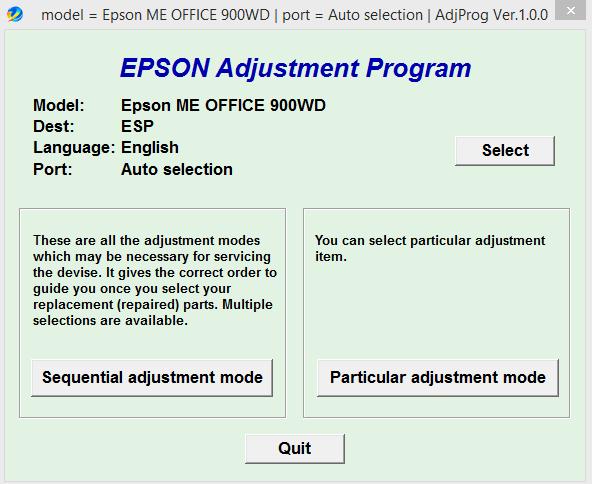 Epson ME 900WD Adjustment