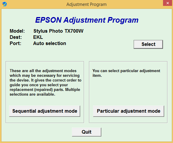 Epson TX 700W Adjustment