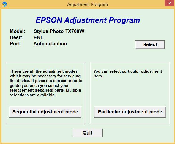 Epson TX 700W Adjustment