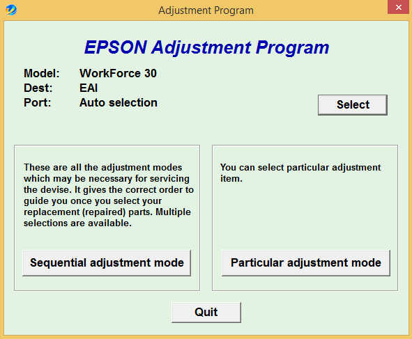 Epson WF 30 Adjustment
