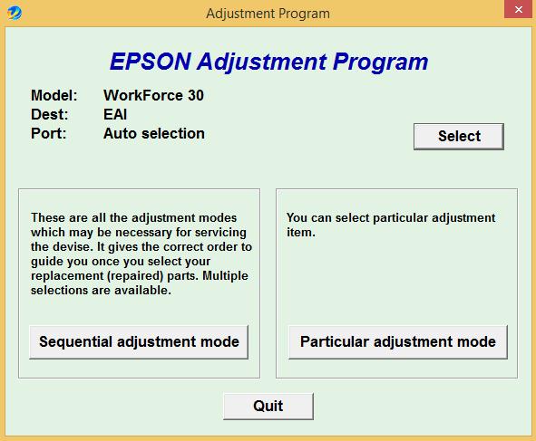 Epson WF 30 Adjustment