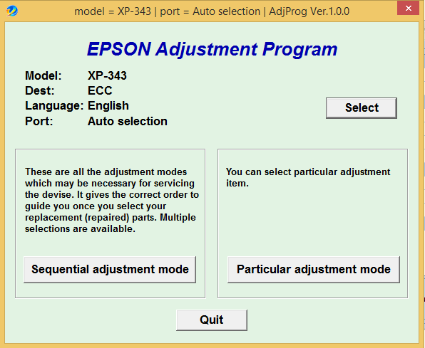 Epson XP-343 Adjustment