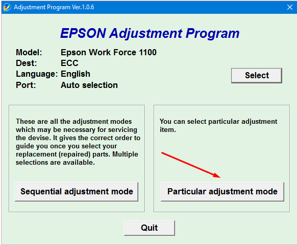 Epson WF-1100 Adjustment Program