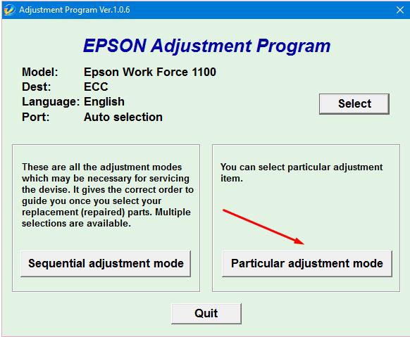 Epson WF-1100 Adjustment