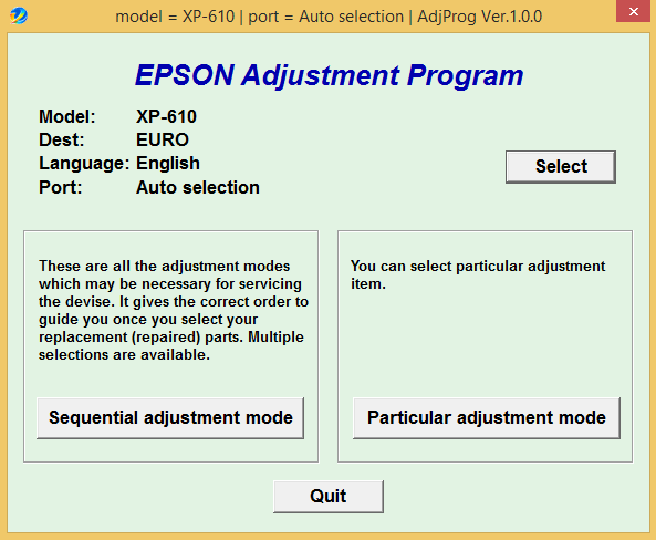 Epson XP 610 Adjustment Program