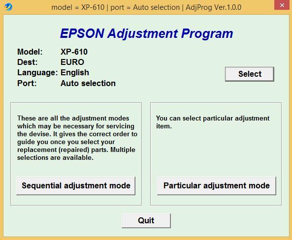 Epson XP-610 Adjustment