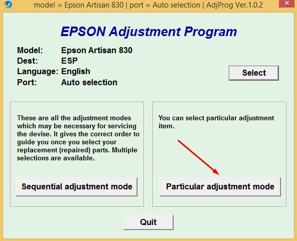 Epson Artisan-830 Adjustment