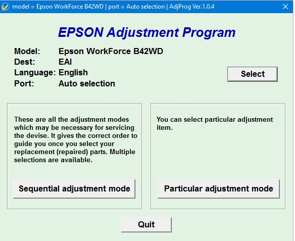 Epson B42 Adjustment Program