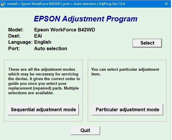 Epson B42 Adjustment