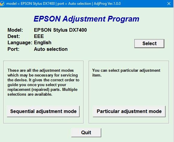 Epson DX7400 Adjustment