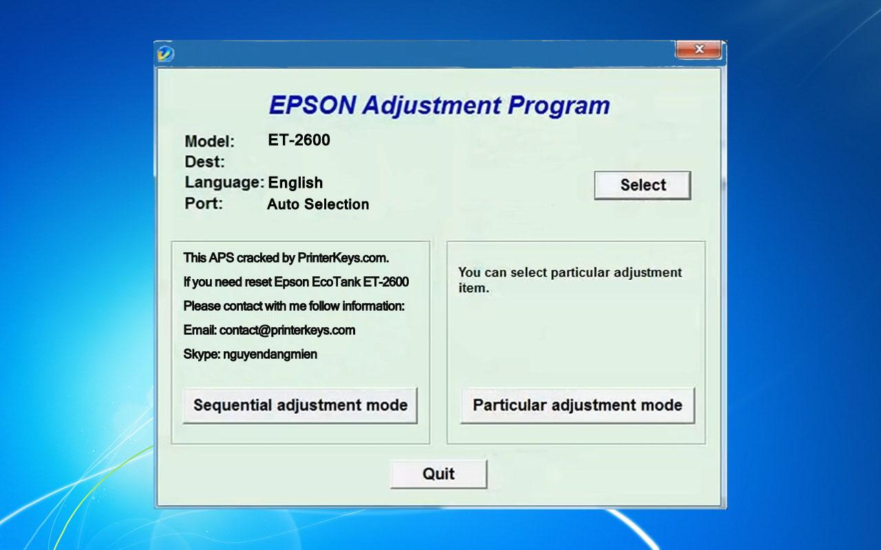 Epson ET-2600 Adjustment