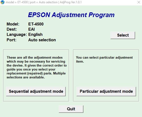Epson Et-4500 Adjustment