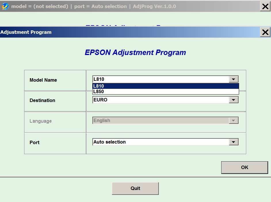 Epson L850 Adjustment Program