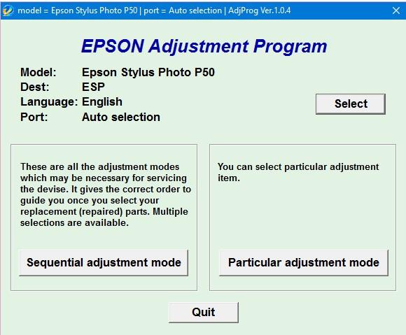 Epson P50 Adjustment