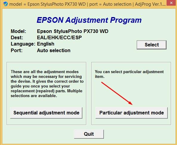 Epson PX-730 Adjustment