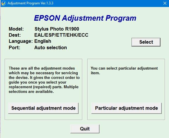 Epson Stylus Photo R1900 Adjustment