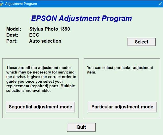 Epson SP-1390 Adjustment