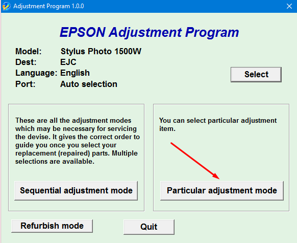Epson SP-1500 Adjustment