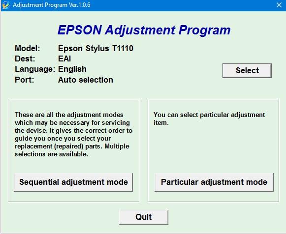 Epson T1110 Adjustment