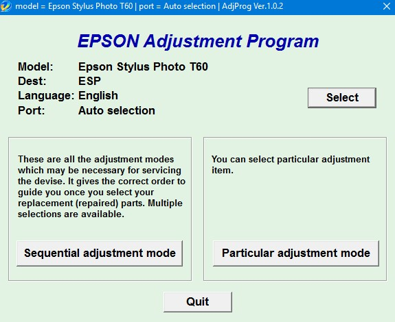 Epson T60 Adjustment Program