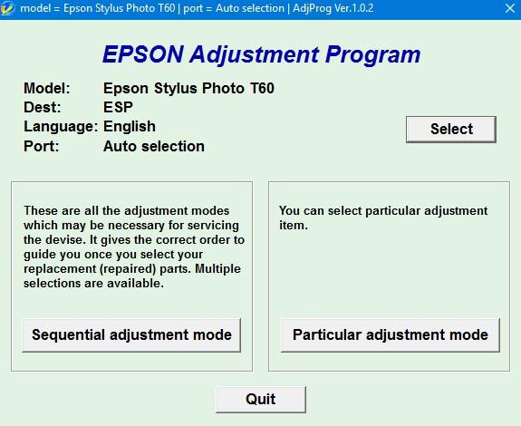 Epson T60 Adjustment