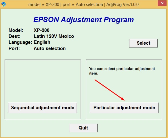 Epson XP-200 Adjustment
