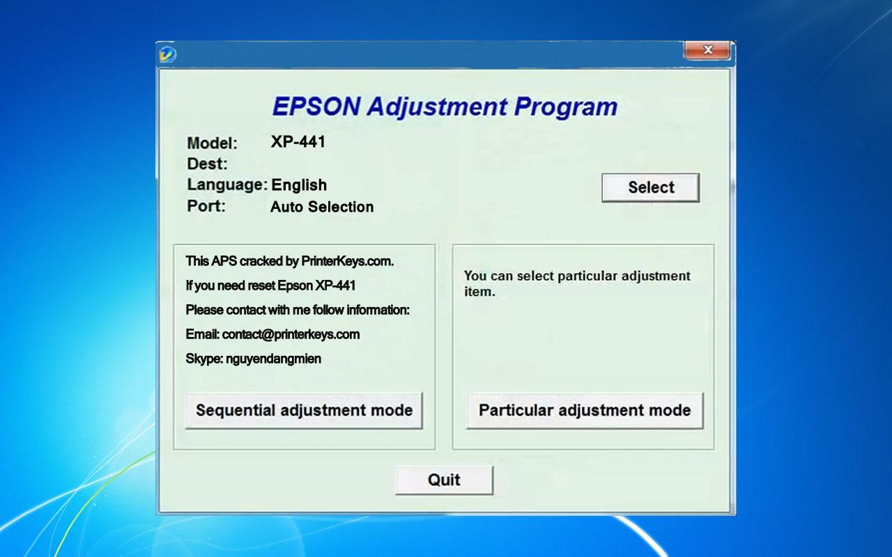 Epson XP-441 Adjustment