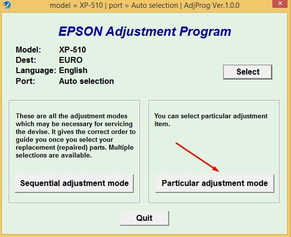 Epson XP-510 Adjustment