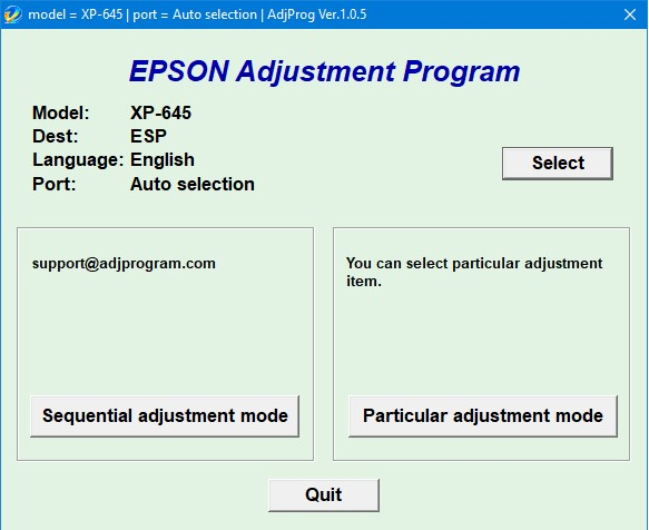 Epson XP 645 Adjustment