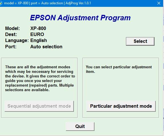 Epson XP-800 Adjustment