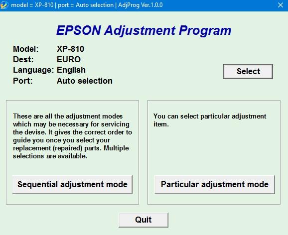 Epson XP 810 Adjustment