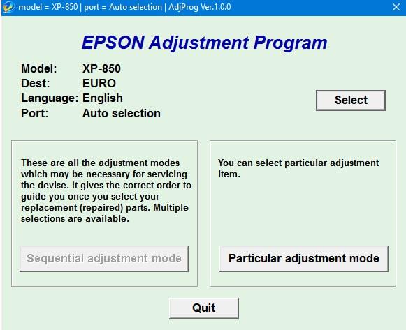 Epson XP-850 Adjustment Program - Epson Adjustment Program