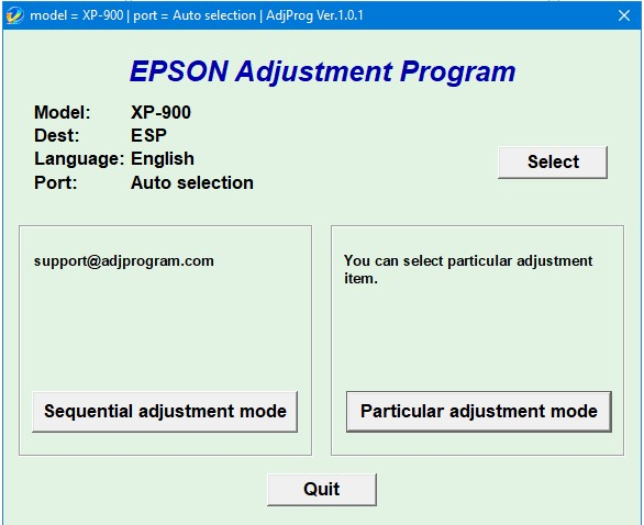 Epson XP 900 Adjustment
