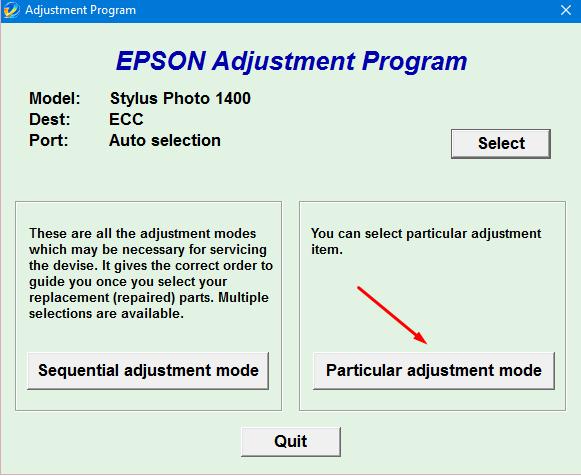 Epson Stylus Photo 1400 Adjustment